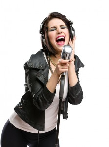 Rock singer with Vintage Microphone