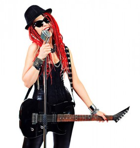 Modern-girl-rock-musician-singing-guitar